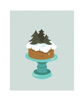Fumetto astratto disegnato a mano tempo di cottura divertente icona illustrazioni con alberi di natale e torta di panna montata sul basamento della torta isolato su bianco