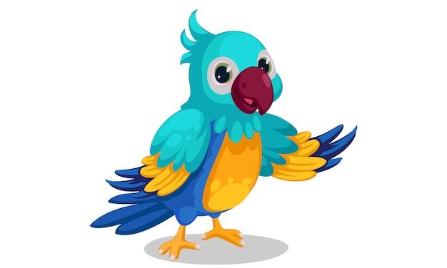 Fumetto blu sveglio del macaw che si leva in piedi nella posa