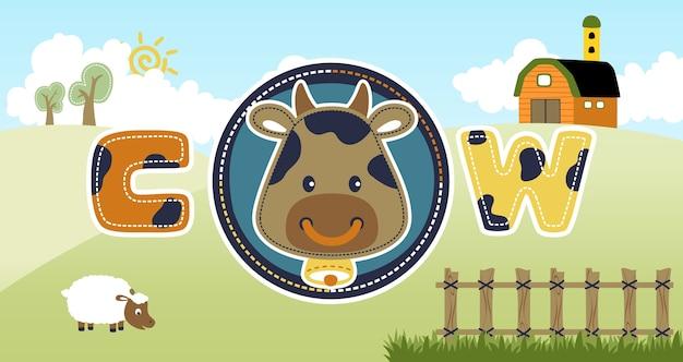 Fumetto capo della mucca con una pecora sul fondo del campo dell'azienda agricola