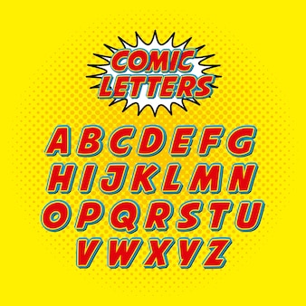 Fumetto carattere alfabeto pop art