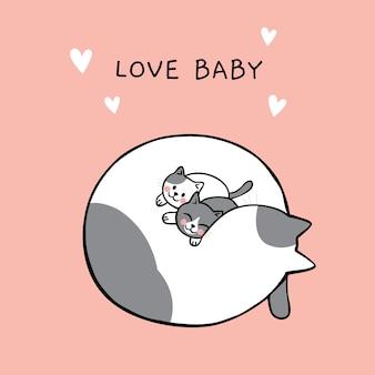 Fumetto carino amore mamma e baby gatto vettoriale.