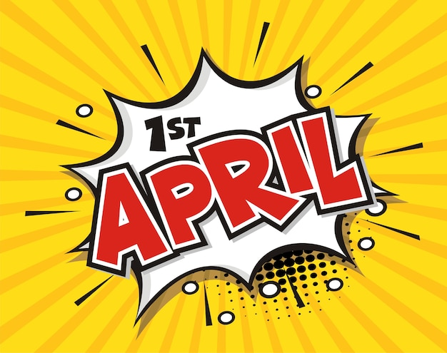 Fumetto comico fumetto parola 1 ° aprile
