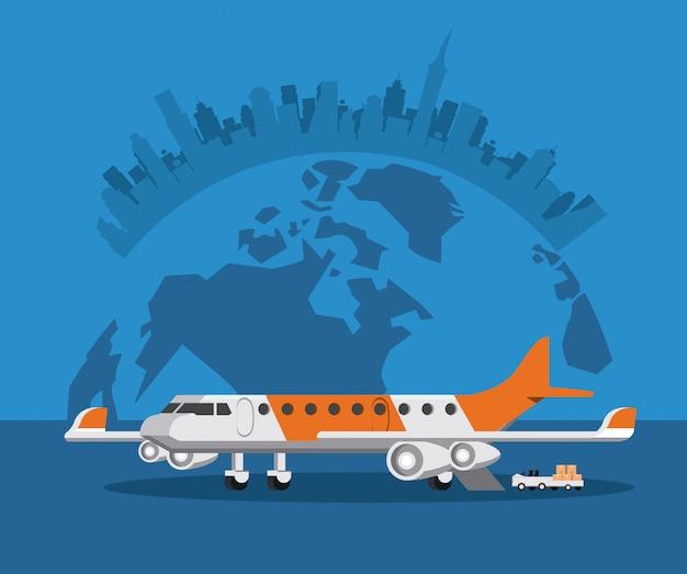Fumetto commerciale dell'aeroplano dei passeggeri del trasporto