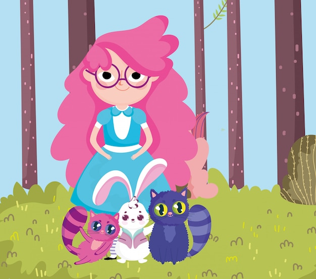 Fumetto degli alberi di erba degli alberi del coniglio e dei gatti della ragazza