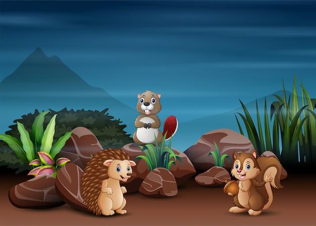 Fumetto degli animali che gioca nella scena notturna