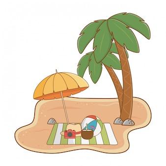 Fumetto degli oggetti della spiaggia di vacanze estive