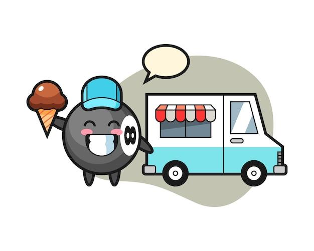 Fumetto del biliardo di otto palle con il camion del gelato