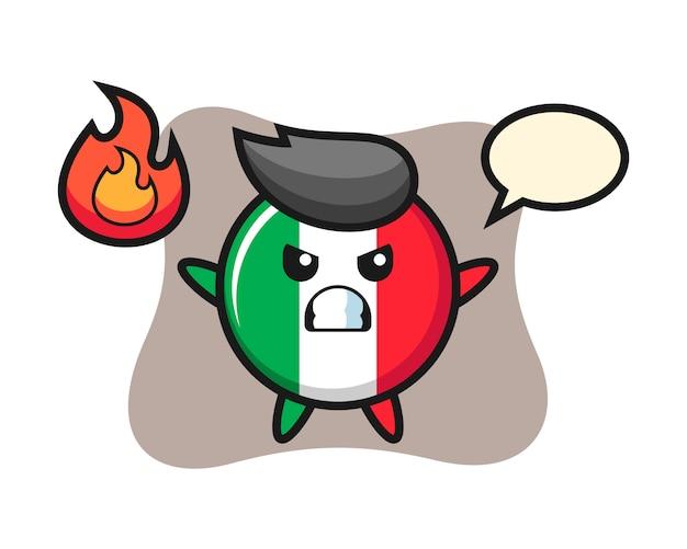 Fumetto del carattere del distintivo della bandiera dell'italia con gesto arrabbiato, stile carino, adesivo, elemento del logo