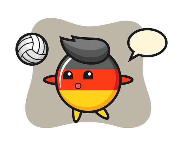 Fumetto del carattere del distintivo della bandiera della germania sta giocando a pallavolo