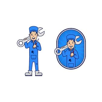 Fumetto del carattere dell'icona del logo della mascotte del meccanico riparatore per il trasporto di affari chiave e cacciavite