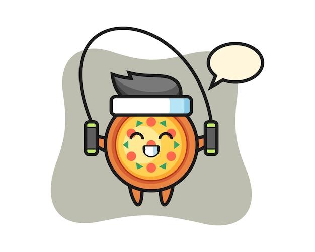Fumetto del carattere della pizza con la corda per saltare