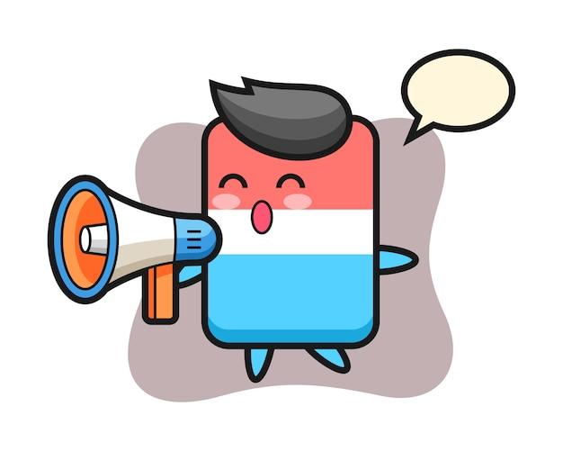 Fumetto del carattere di gomma che tiene un megafono, stile carino, adesivo, elemento del logo