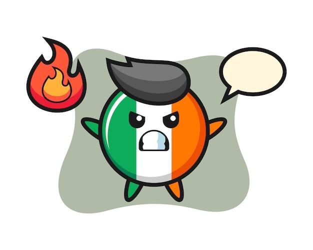 Fumetto del carattere distintivo della bandiera dell'irlanda con gesto arrabbiato