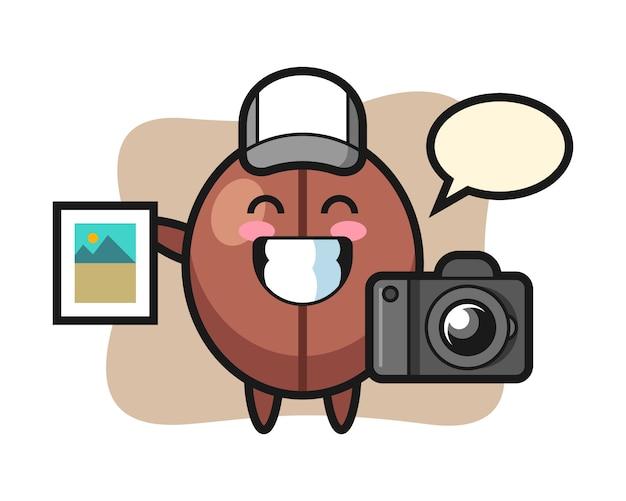 Fumetto del chicco di caffè come fotografo