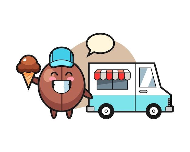 Fumetto del chicco di caffè con il camion del gelato