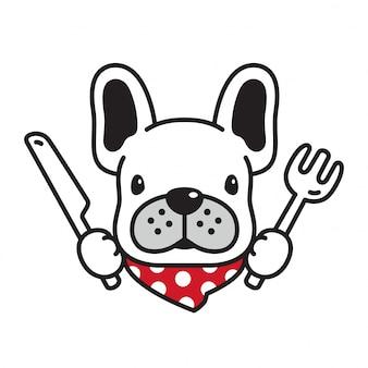 Fumetto del cucciolo del cibo del forno del bulldog francese di vettore del cane