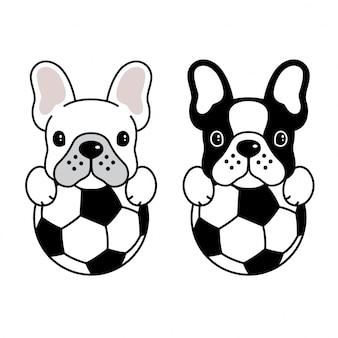 Fumetto del cucciolo della palla di calcio di calcio del bulldog francese di vettore del cane