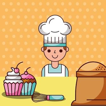 Fumetto del cuoco unico che produce la spazzola della farina dei cupcakes