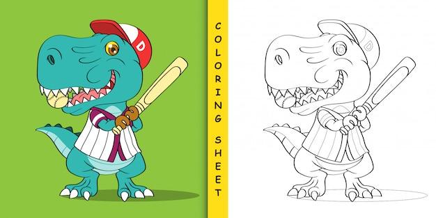 Fumetto del dinosauro del giocatore di baseball, foglio da colorare