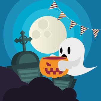 Fumetto del fantasma di halloween con la zucca al disegno del cimitero, tema spaventoso