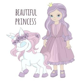 Fumetto del partito della ragazza della principessa di unicorno