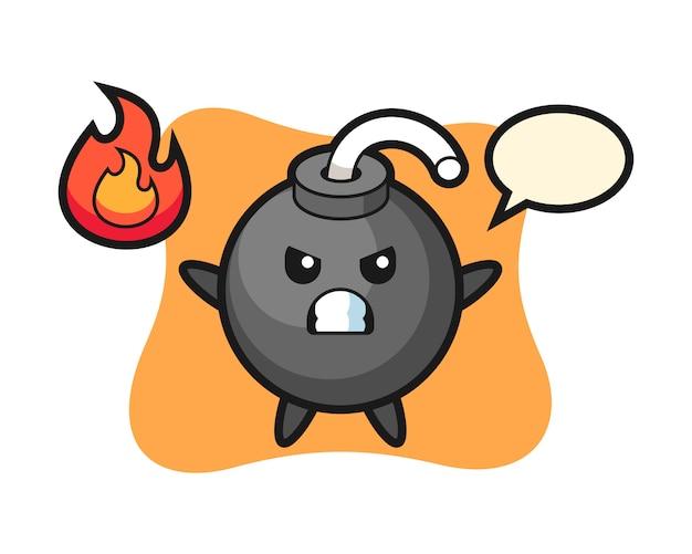 Fumetto del personaggio di bomba con gesto arrabbiato