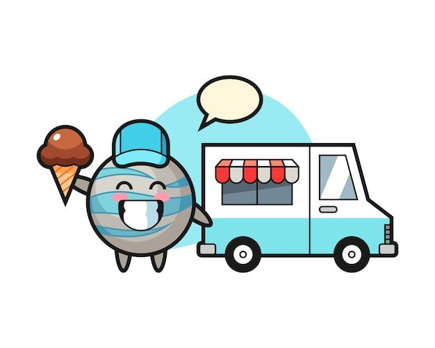 Fumetto del pianeta con camion di gelati