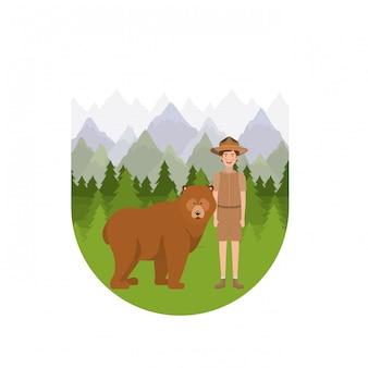 Fumetto del ragazzo del guardia forestale della foresta
