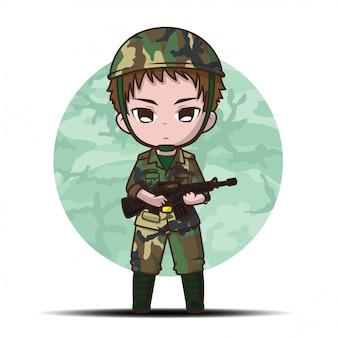 Fumetto del ragazzo del soldato dell'esercito sveglio.