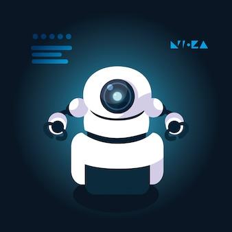 Fumetto del robot di tecnologia sopra il blu