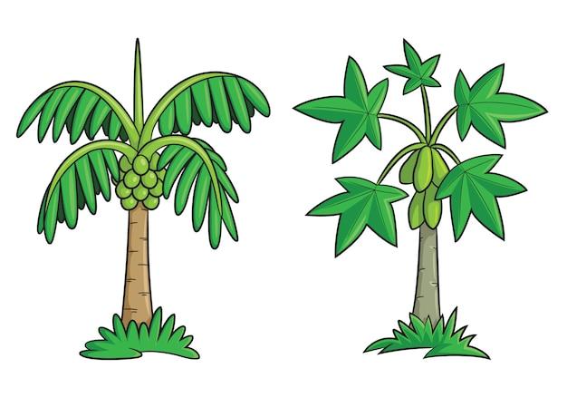 Fumetto dell'albero di noce di cocco e dell'albero di papaia