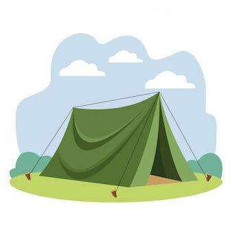 Fumetto dell'attrezzatura della tenda di viaggio di campeggio