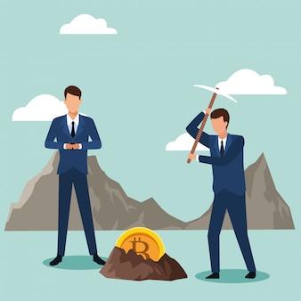 Fumetto dell'avatar degli uomini d'affari che cerca i bitcoin