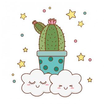 Fumetto dell'icona del cactus con le nuvole