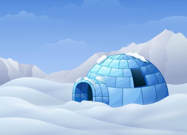 Fumetto dell'iglù con le montagne nell'illustrazione di inverno