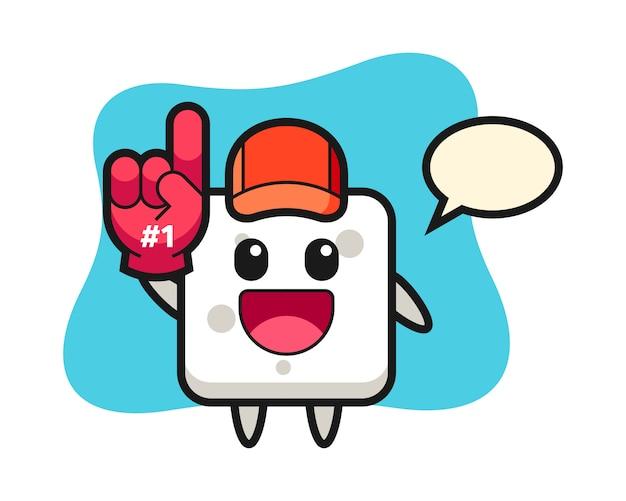 Fumetto dell'illustrazione del cubo dello zucchero con il guanto di fan di numero 1, stile sveglio per la maglietta, adesivo, elemento di logo