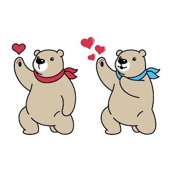 Fumetto dell'illustrazione del cuore polare dell'orso