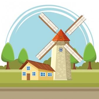 Fumetto dell'illustrazione del mulino a vento e della camera