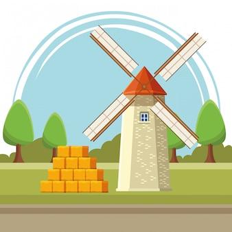 Fumetto dell'illustrazione del mulino a vento