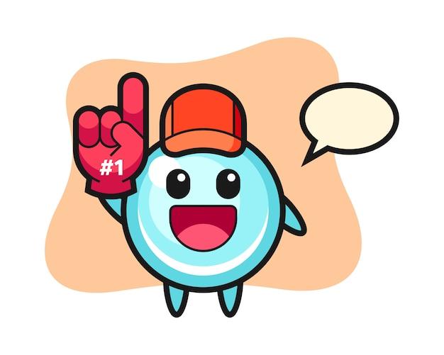 Fumetto dell'illustrazione della bolla con il guanto di fan di numero 1, progettazione sveglia di stile