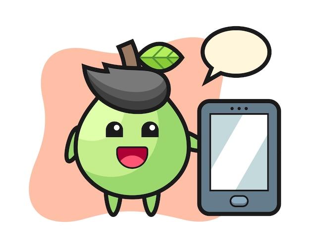 Fumetto dell'illustrazione della guaiava che tiene uno smartphone, stile sveglio per la maglietta, autoadesivo, elemento di logo