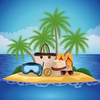 Fumetto dell'isola della spiaggia di estate al giorno soleggiato