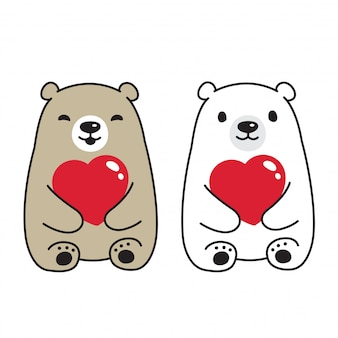 Fumetto dell'orso del cuore del carattere di san valentino dell'orso polare