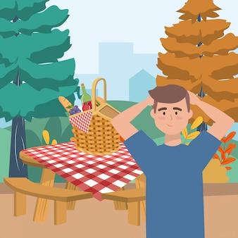 Fumetto dell'uomo che ha picnic