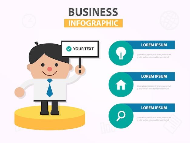 Fumetto dell'uomo d'affari che approva lavoro infographic