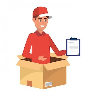 Fumetto dell'uomo del lavoratore di servizio di consegna