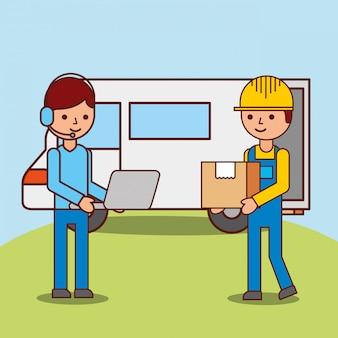 Fumetto dell'uomo dell'operatore con la scatola di trasporto logistica del lavoratore e del computer portatile vicino al furgone