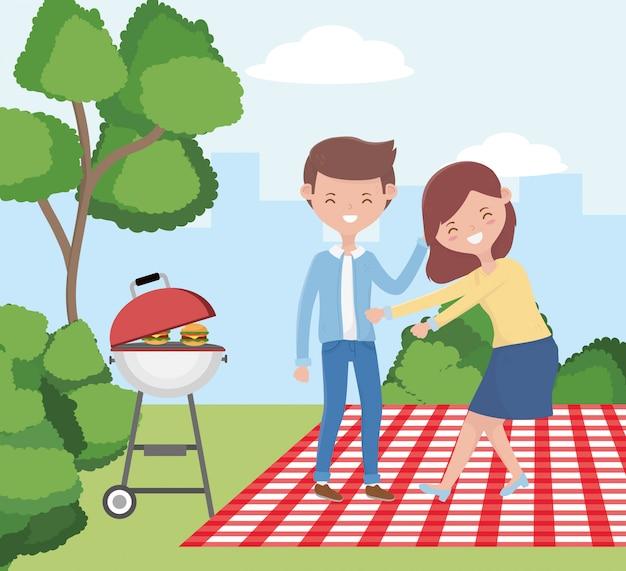 Fumetto dell'uomo e della donna che ha progettazione di picnic, tema sano del pranzo e del pasto della molla di svago all'aperto di festa all'aperto dell'alimento