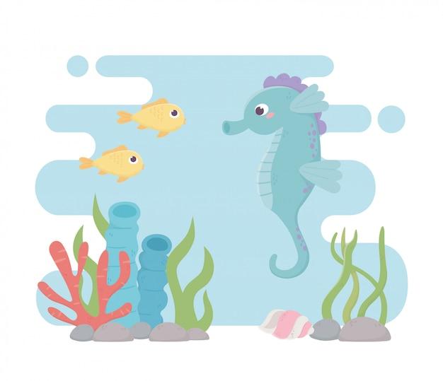 Fumetto della barriera corallina di vita dei pesci dell'ippocampo sotto il mare