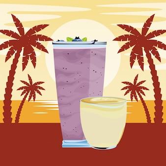 Fumetto della bevanda del frullato tropicale della frutta